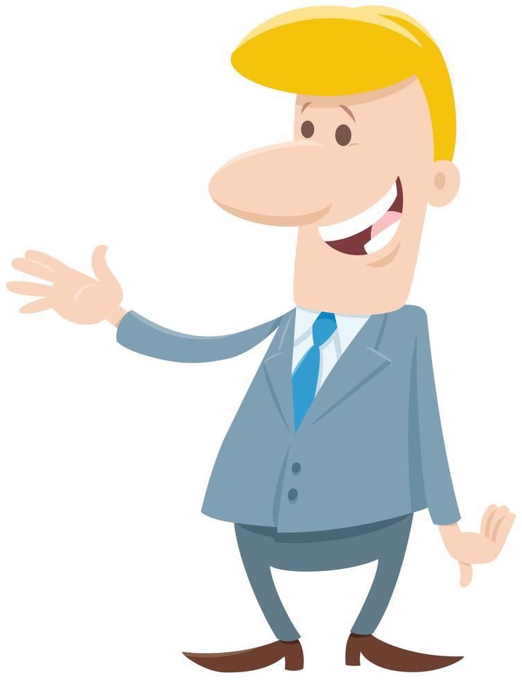 personaje de dibujos animados divertido hombre o empresario vector