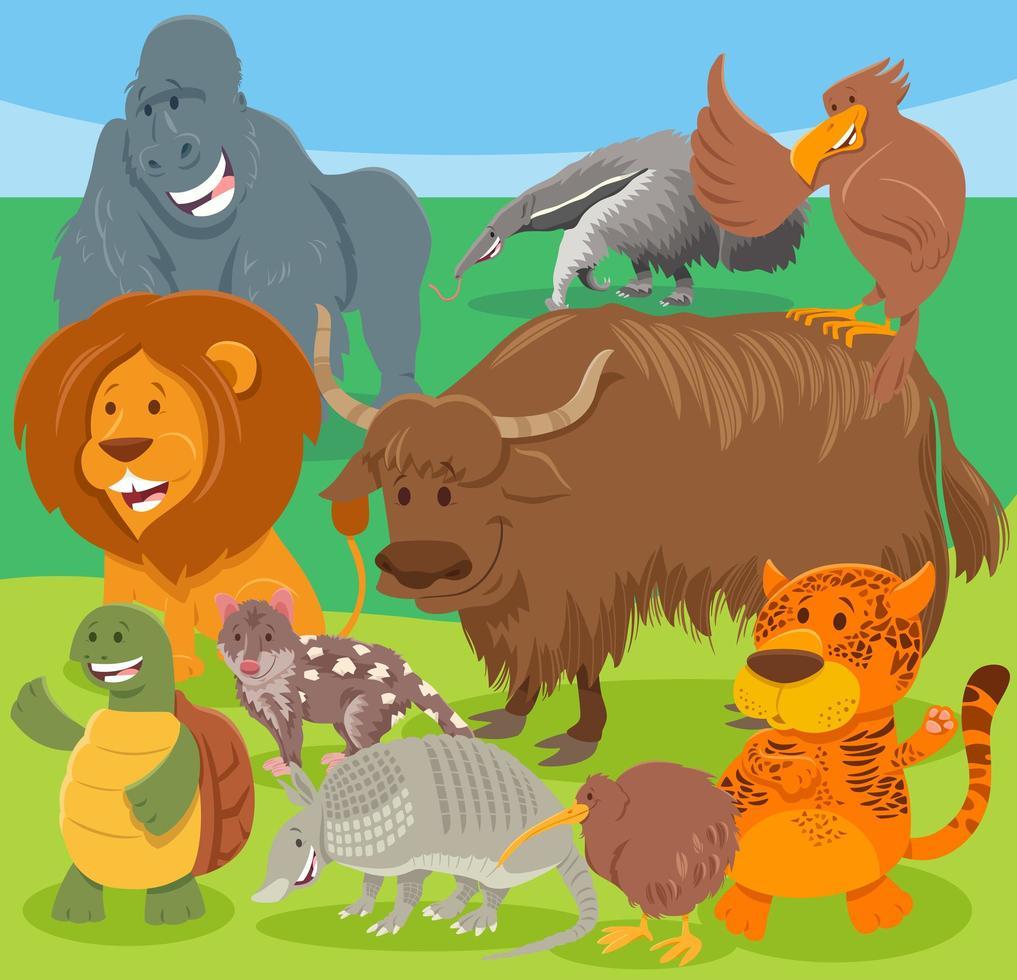 grupo de personajes de animales salvajes de divertidos dibujos animados vector