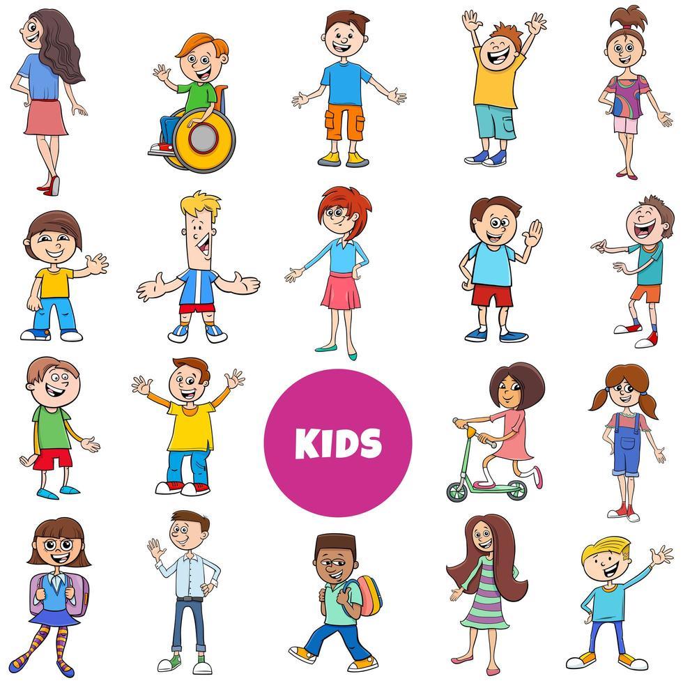 Conjunto grande de personajes de cómic para niños y adolescentes. vector