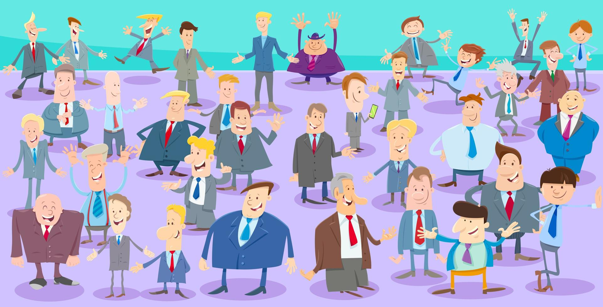 Cartoon businessmen characters large group vector