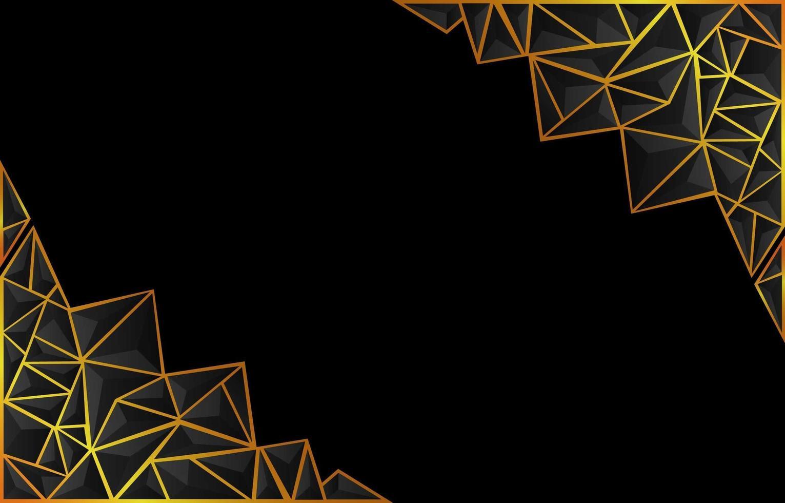 Fondo oscuro de poli baja con acento dorado vector