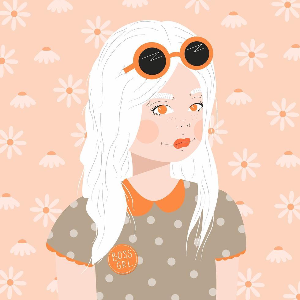 retrato, de, un, niña joven, con, pelo blanco vector