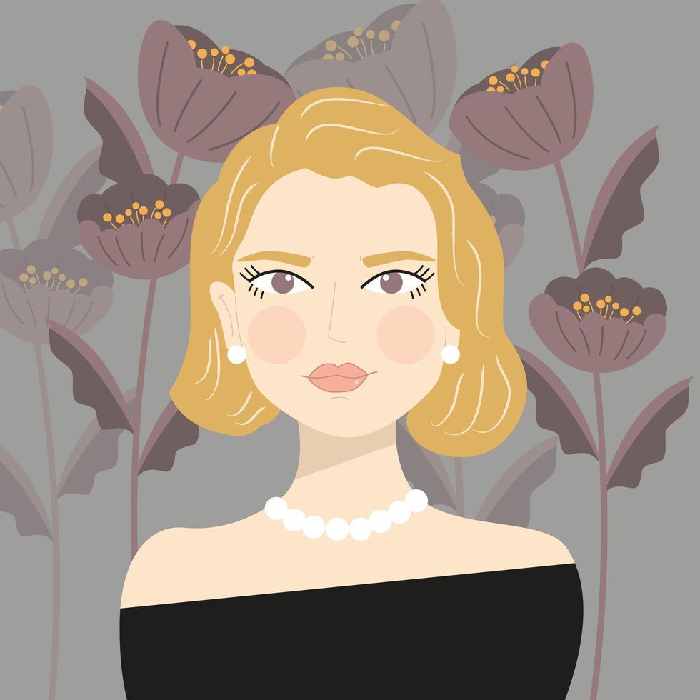 retrato de una elegante chica rubia con perlas vector