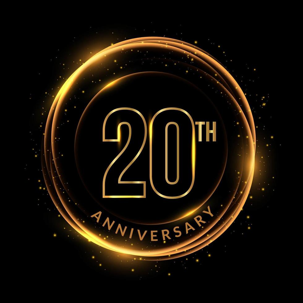 Glittering golden 20th anniversary text in circular frame vector
