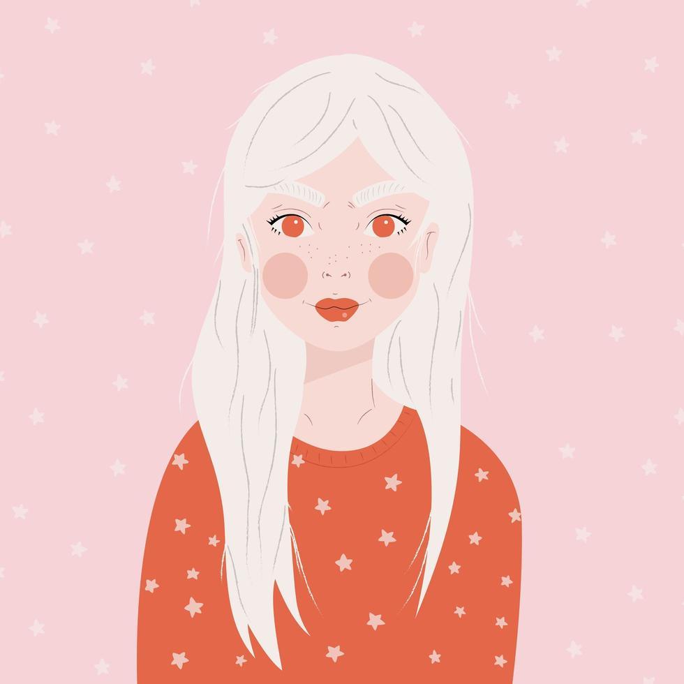 retrato de una niña con largo cabello blanco vector