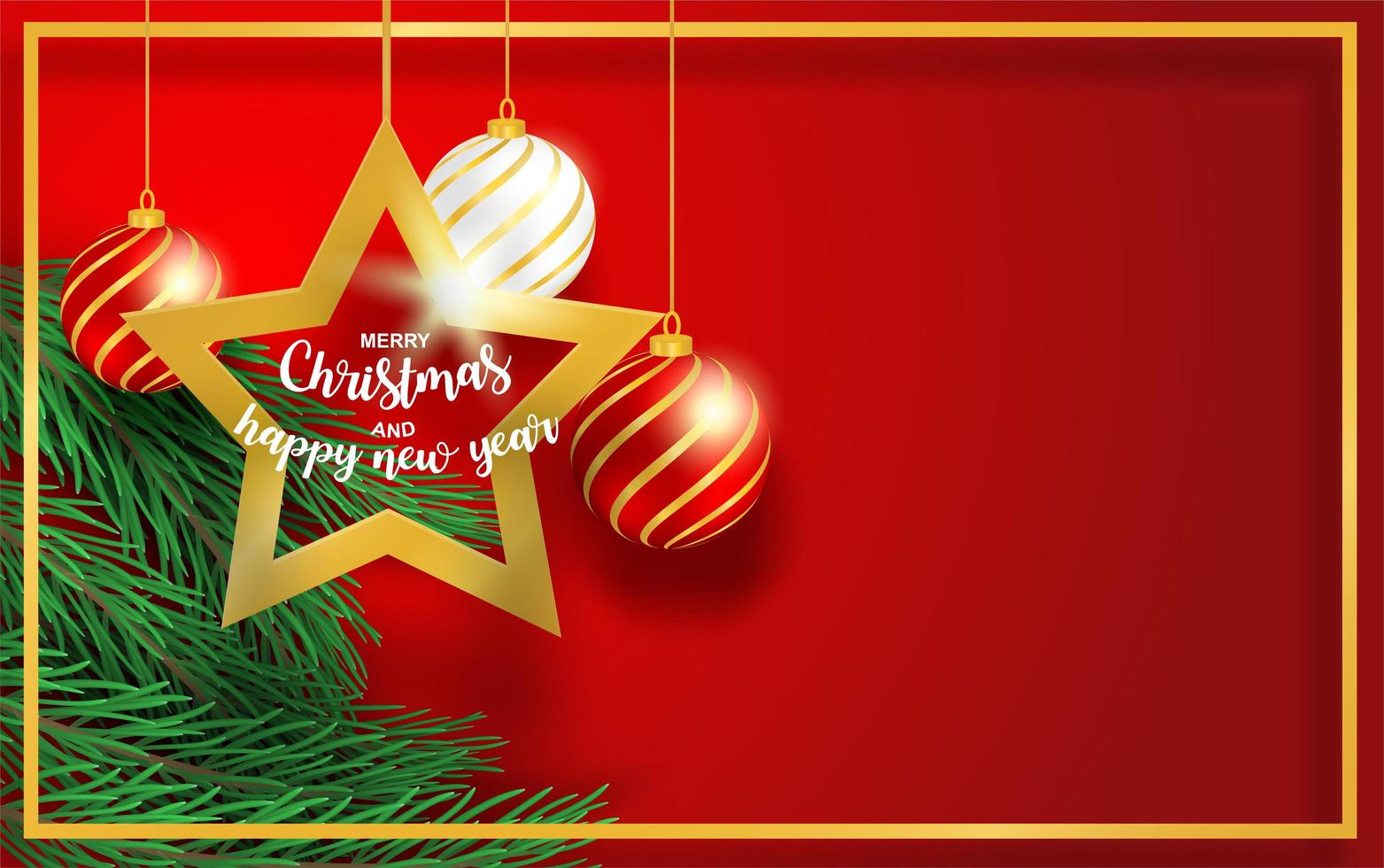 Christmas design with branches, star and ball on red vector