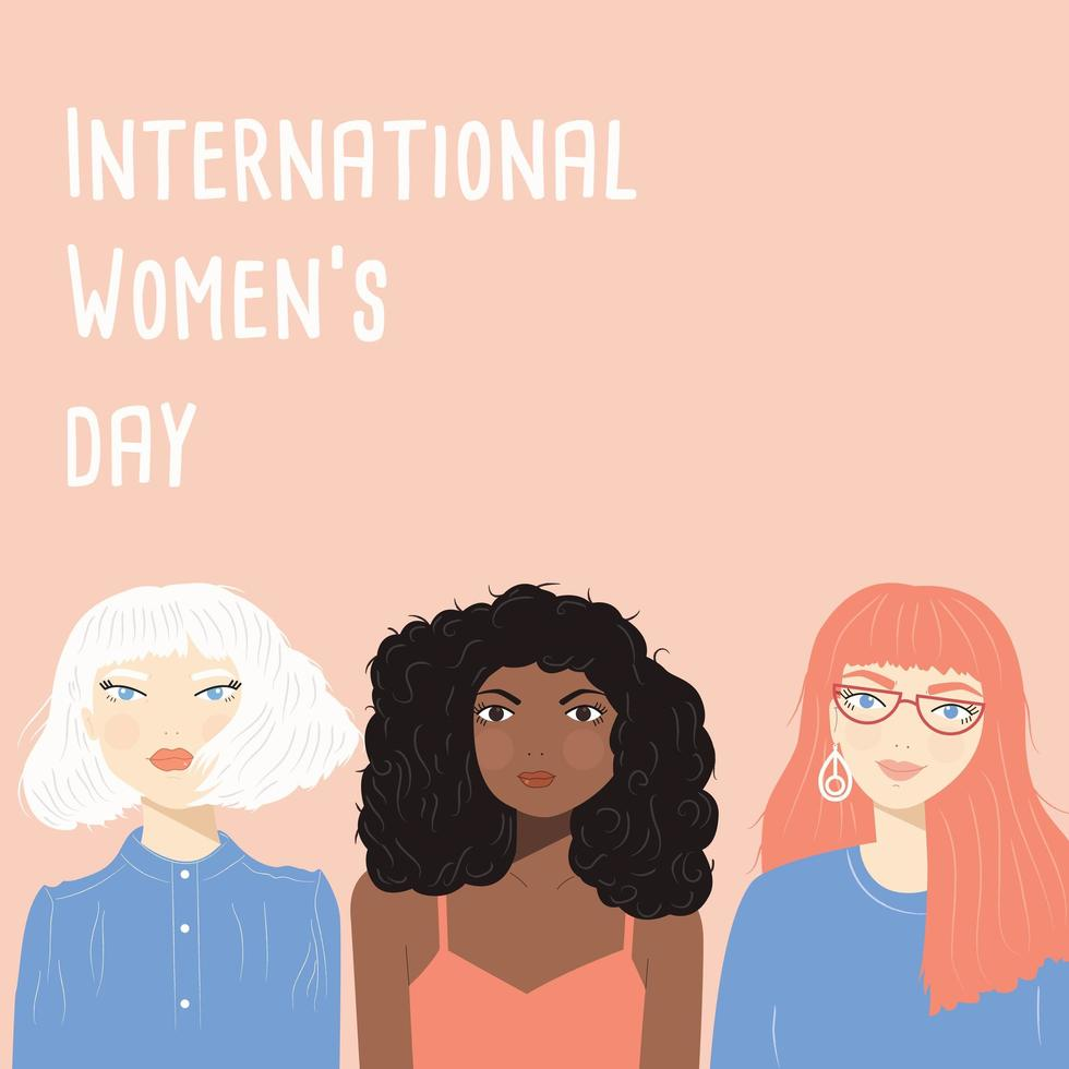 International Women's Day sign with women portraits vector