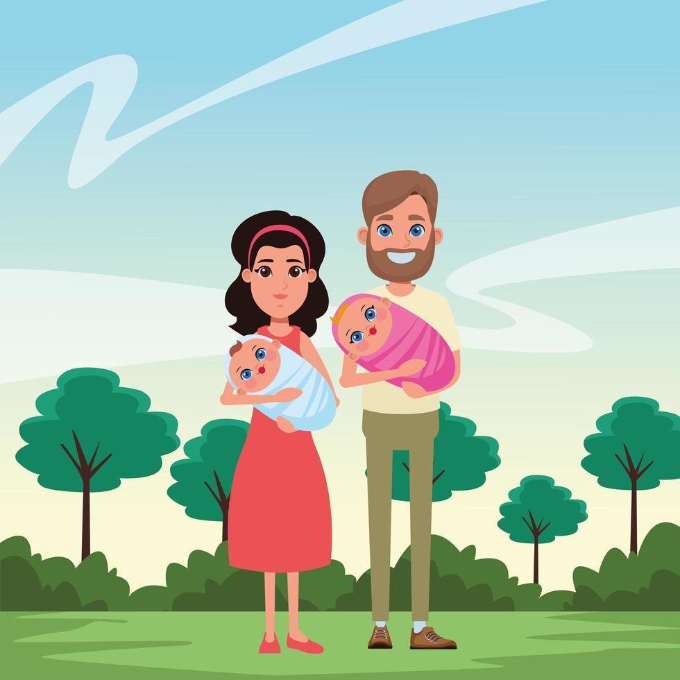 personajes de dibujos animados familiares juntos vector