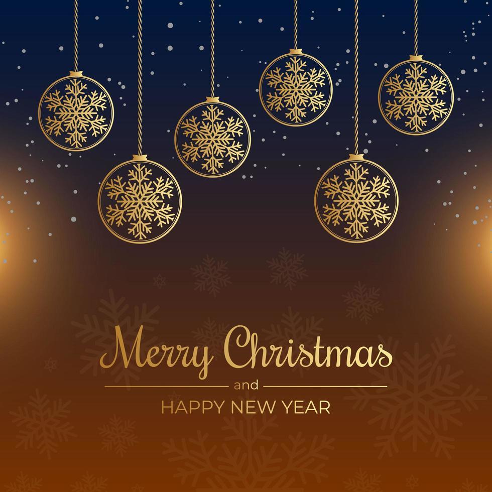tarjeta de navidad con copos de nieve y adornos colgantes de contorno vector