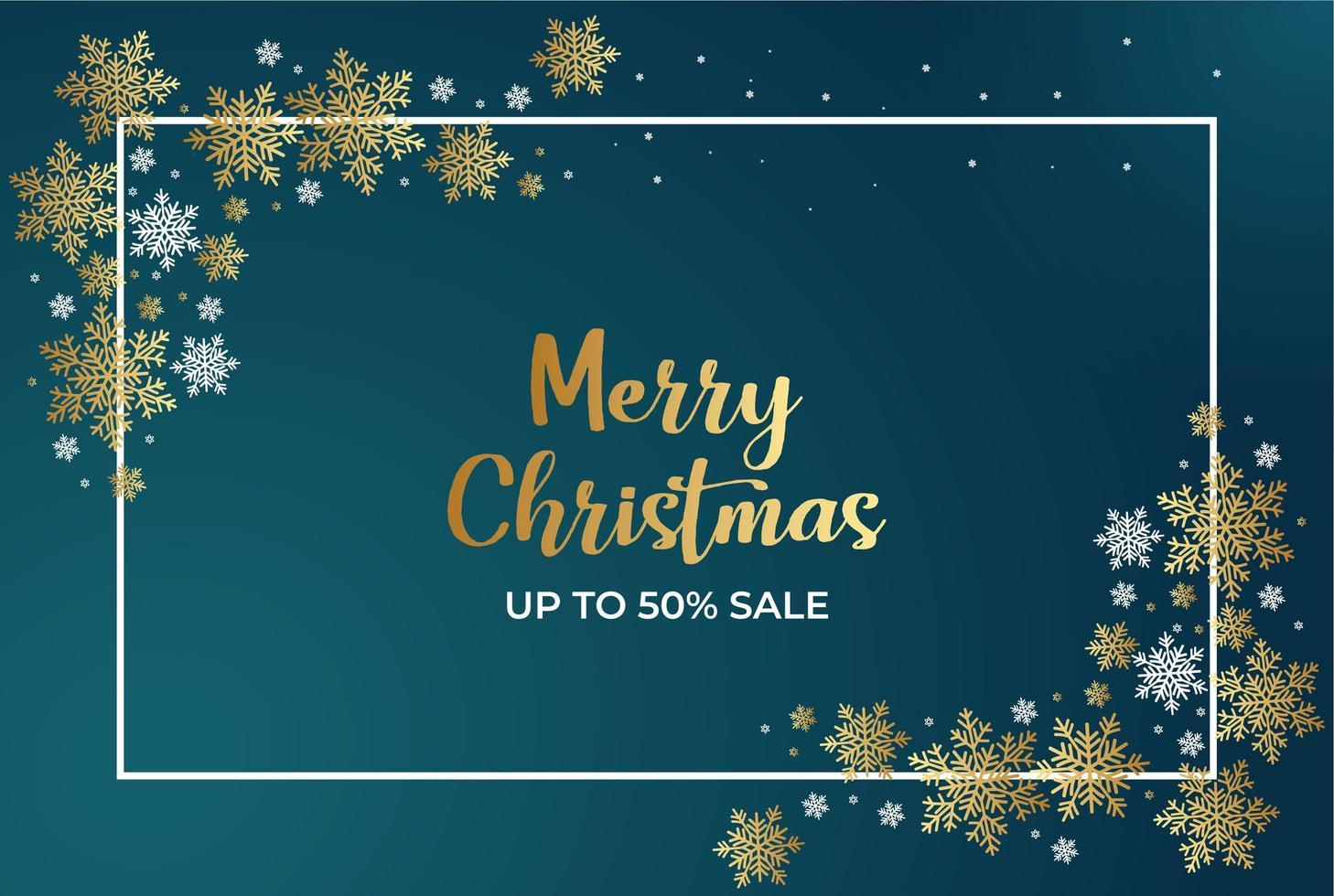 cartel de venta de navidad con copos de nieve y marco vector