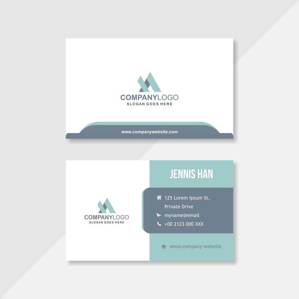White and blue business card template vector