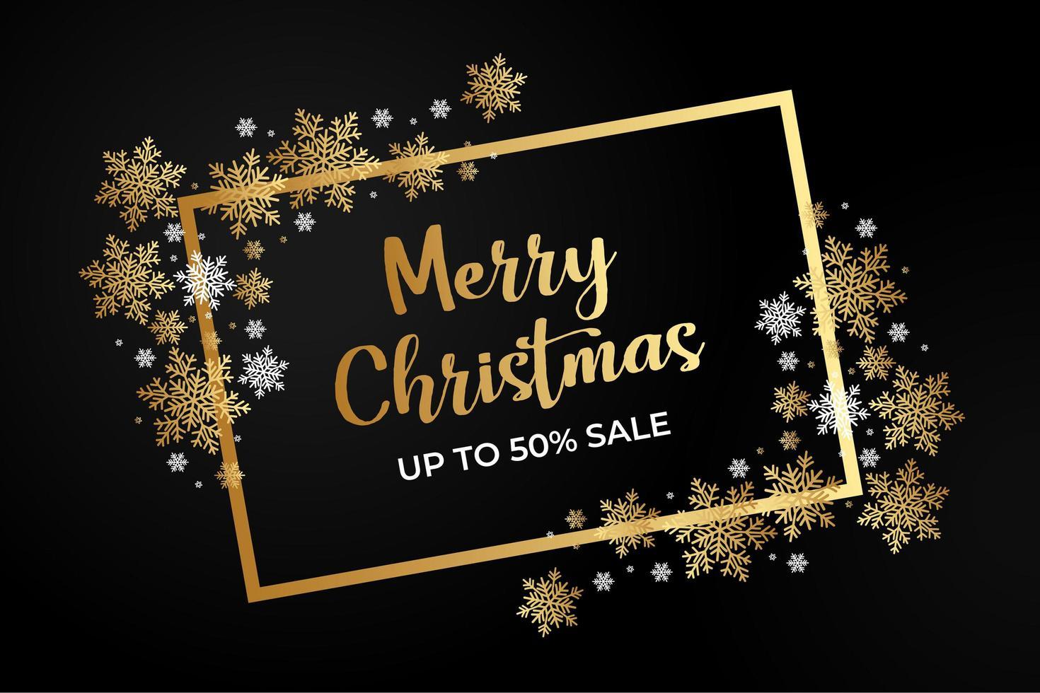 cartel de venta de navidad con copos de nieve y marcos dorados vector