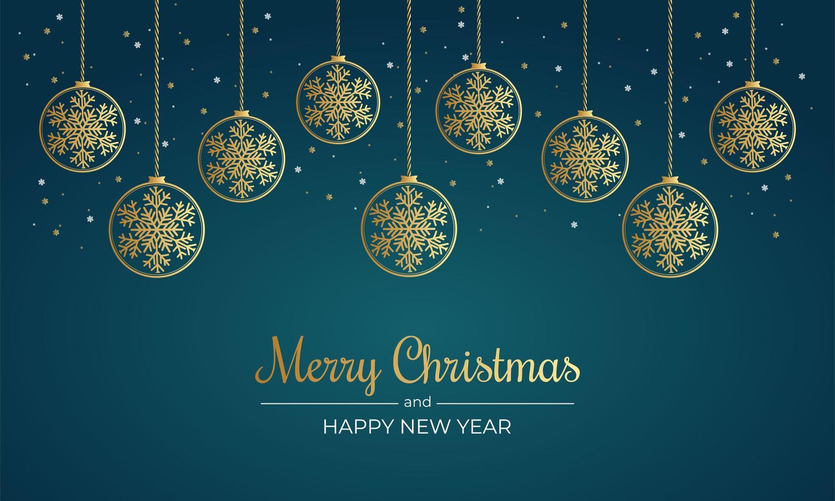 cartel navideño con copos de nieve dorados y adornos vector