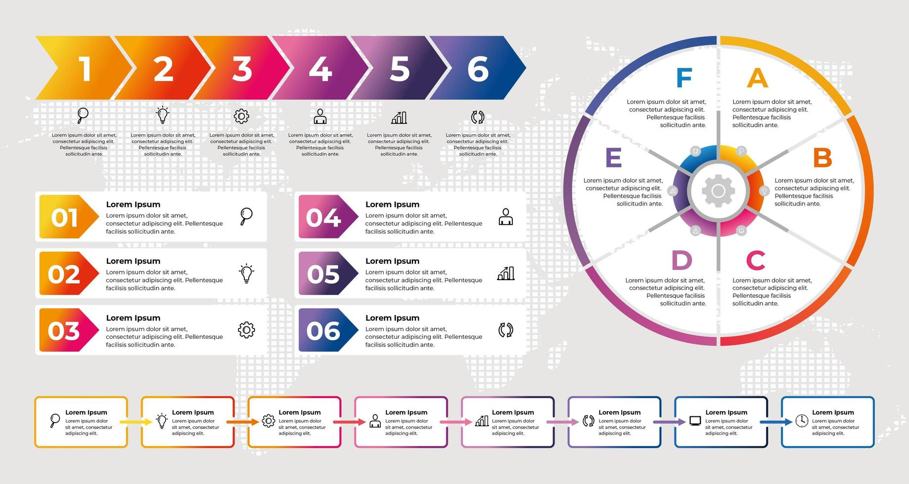 Plantilla de infografía empresarial con elementos degradados de colores vector