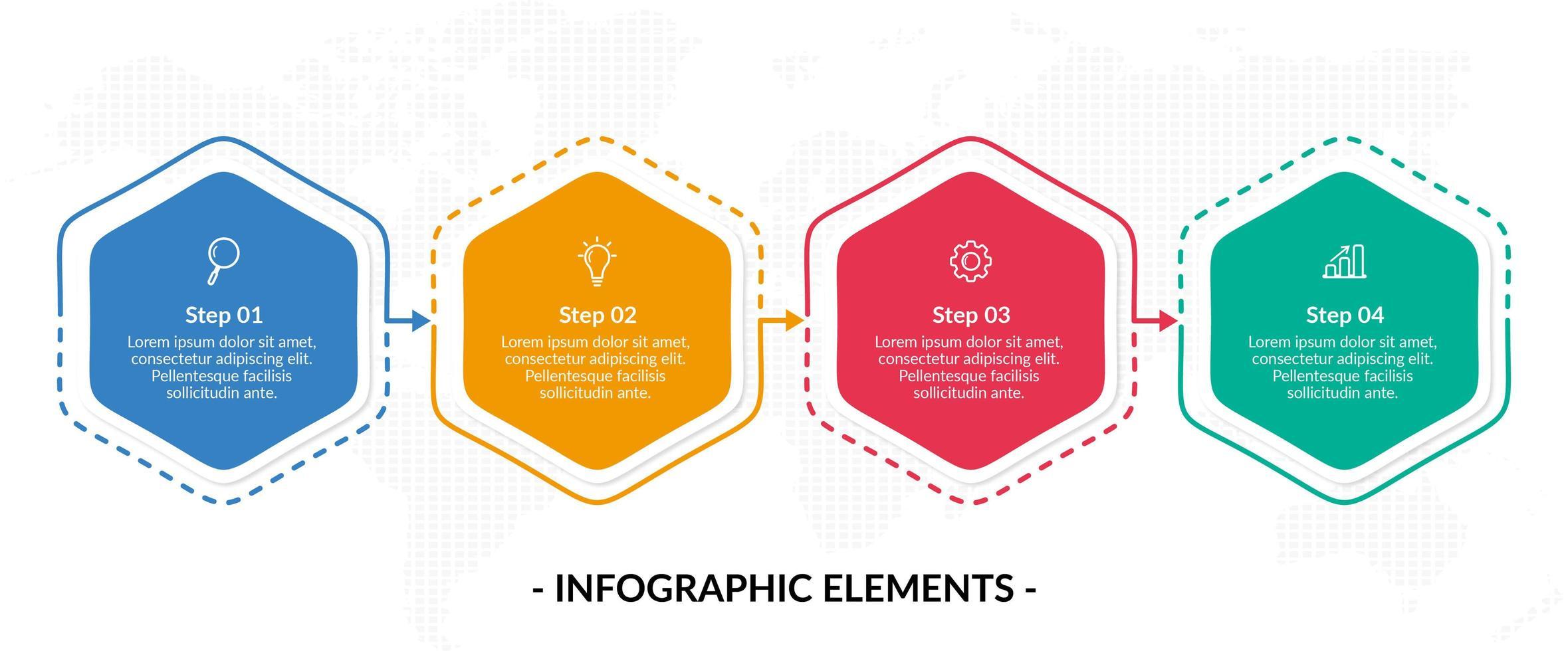 Plantilla de infografía empresarial de cuatro pasos hexagonales coloridos vector