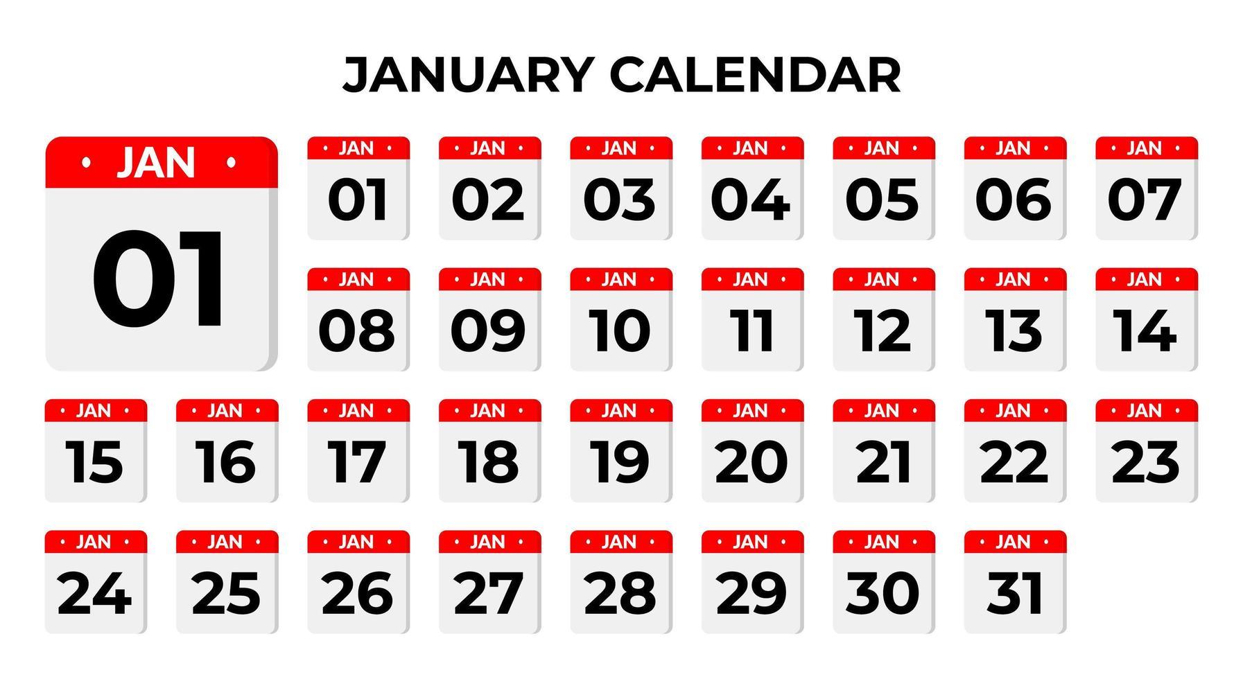 January calendar icons vector