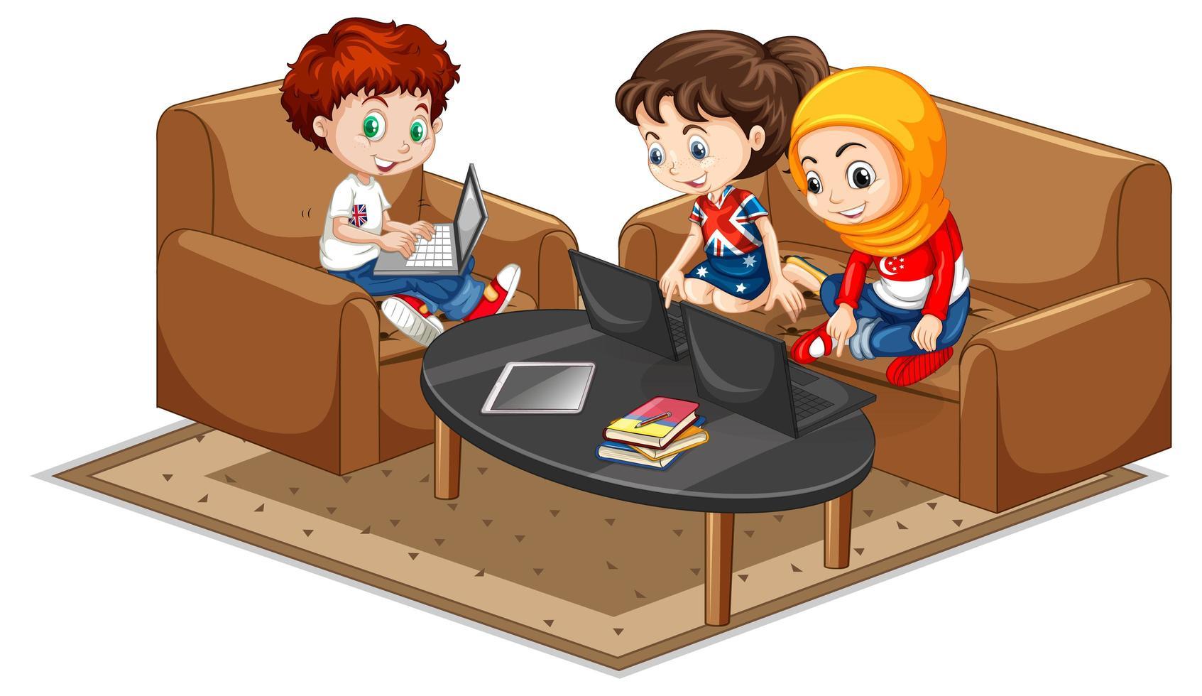 niños en la sala de estar en computadoras portátiles vector