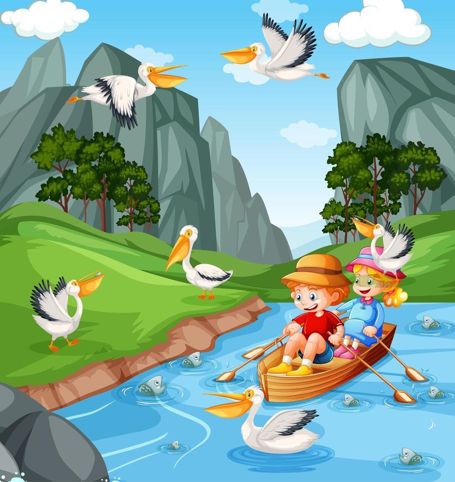 Los niños remar en el bote en la escena del bosque del arroyo vector