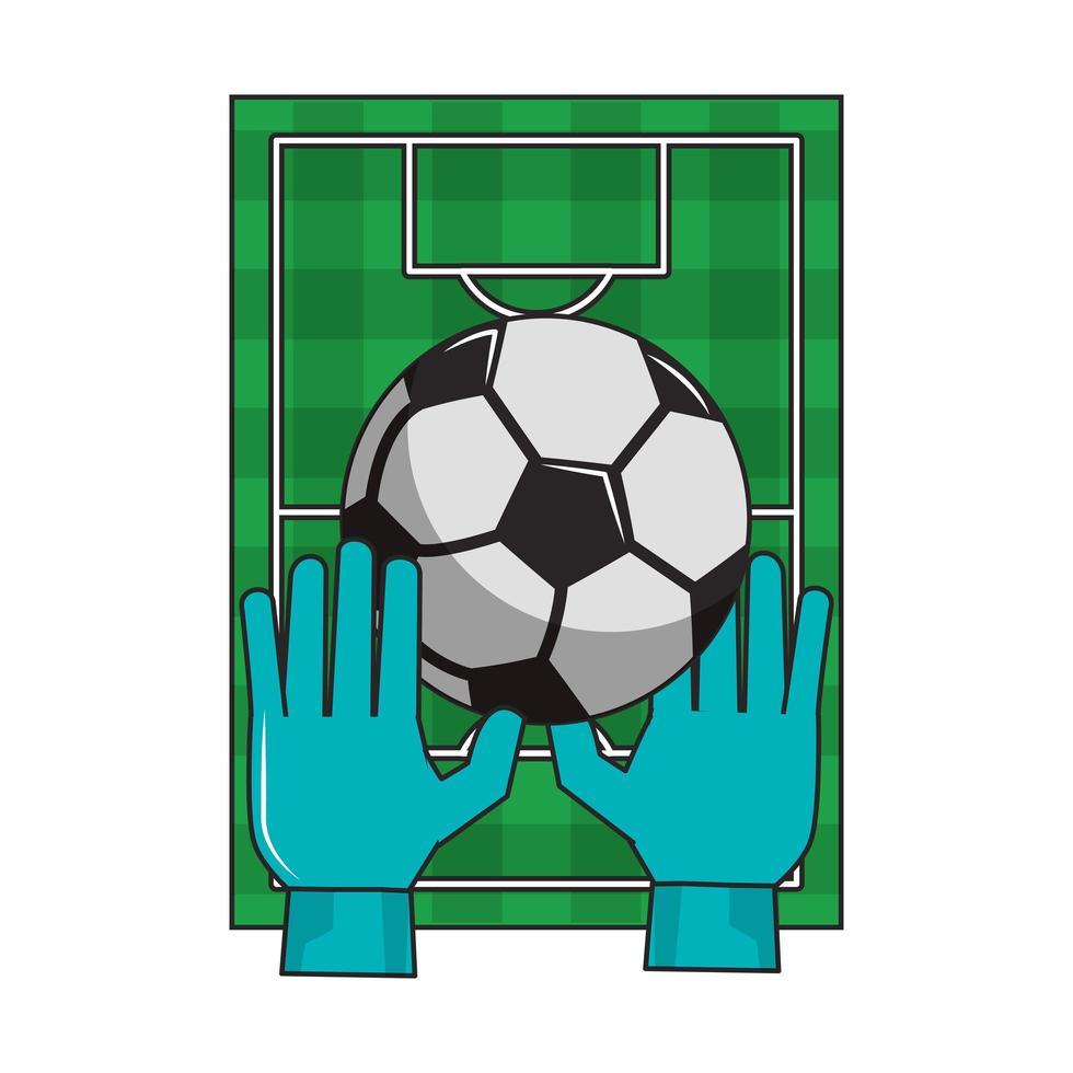 campo de fútbol con guantes y dibujos animados de pelota vector