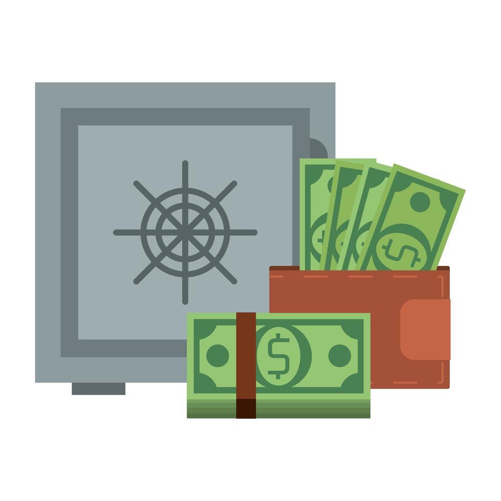 caja fuerte y billetera con símbolo de dinero vector