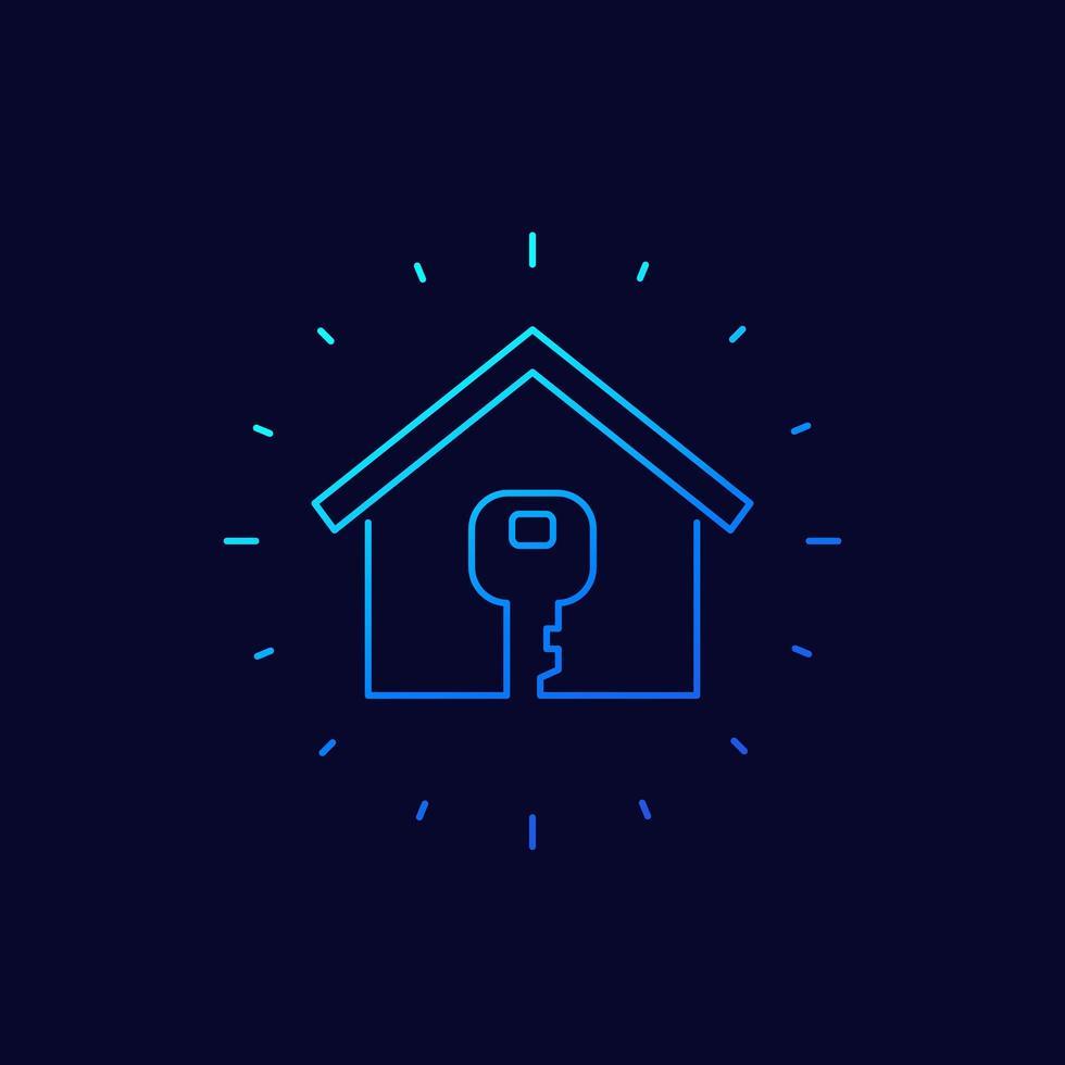 icono de línea de inicio y llave vector