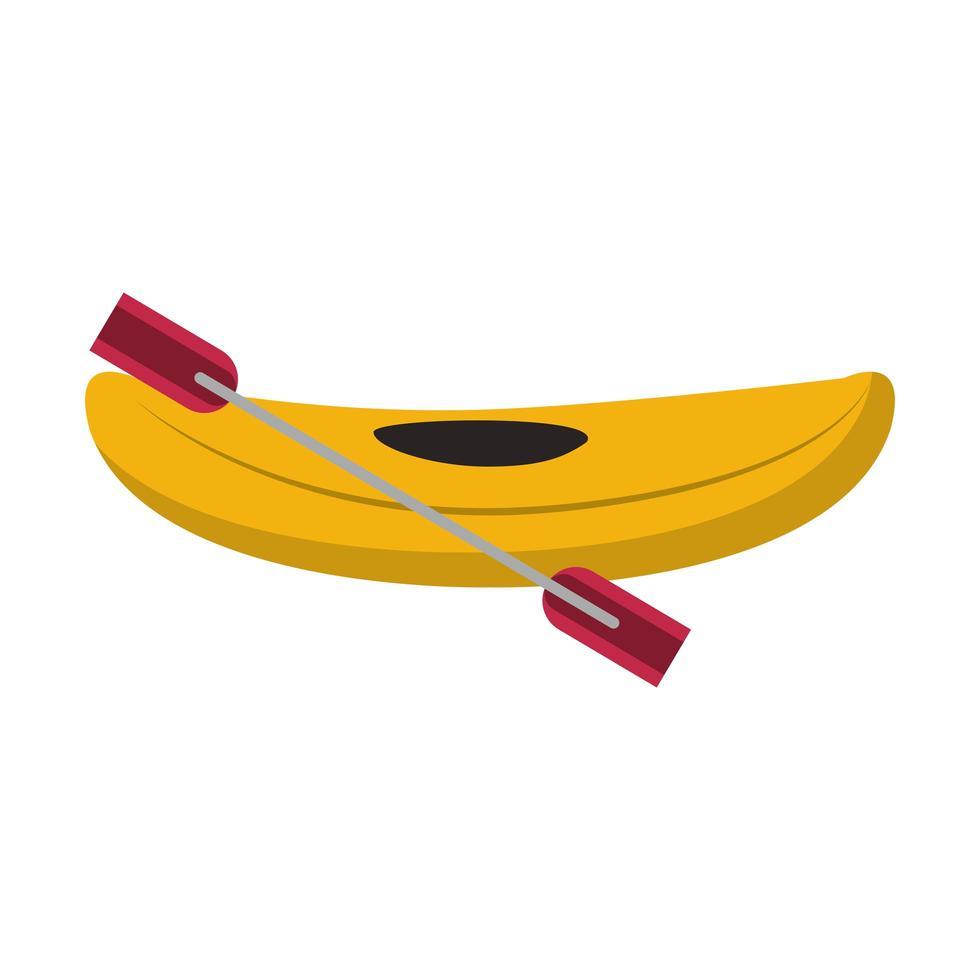 Kayak con remo icono de dibujos animados aislado vector