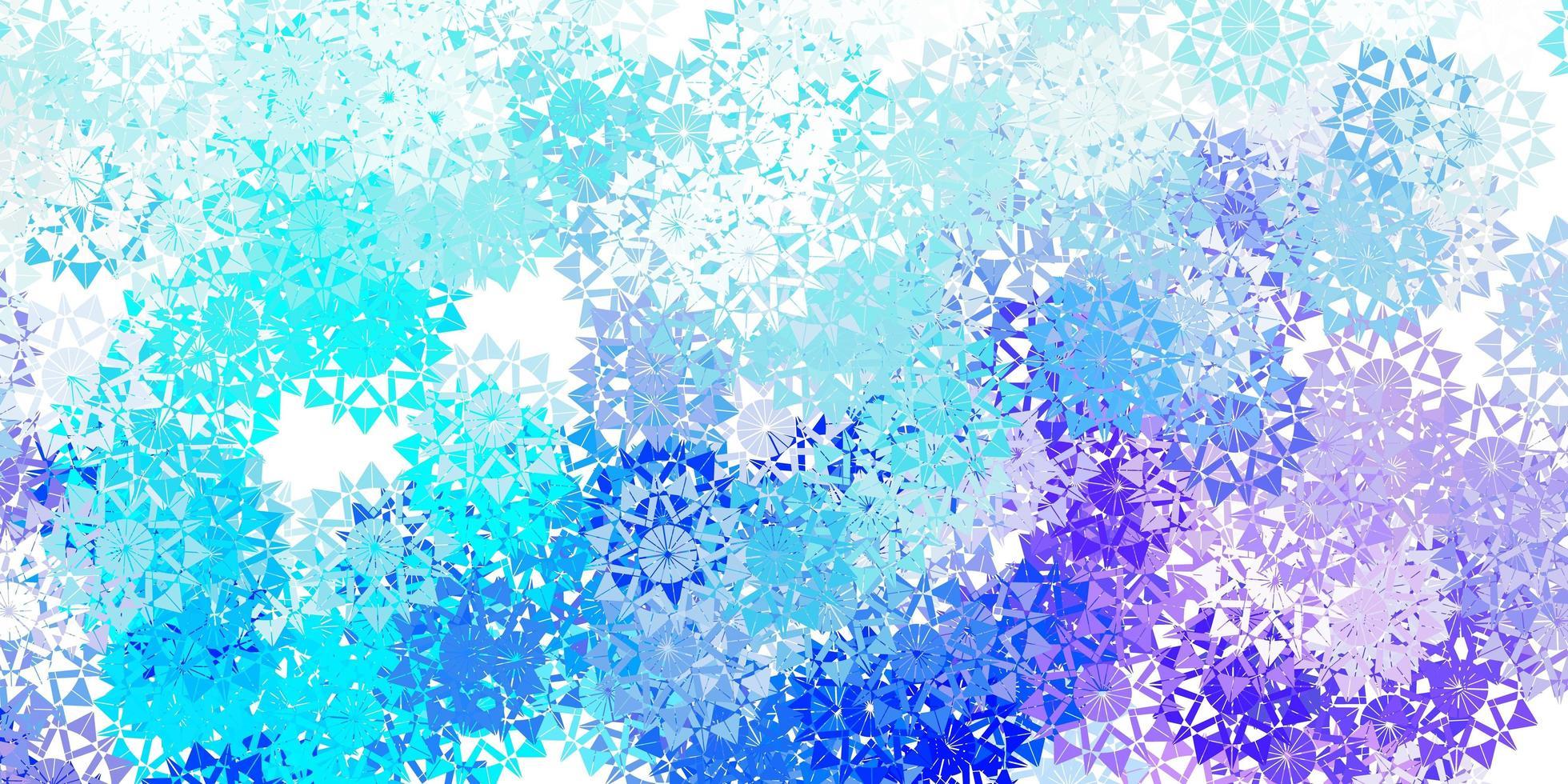 patrón azul violeta claro con copos de nieve de colores vector