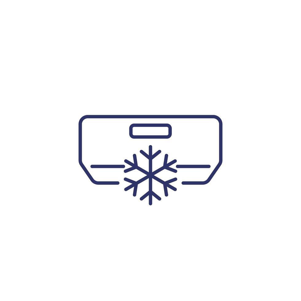 acondicionador de aire, icono de línea ac en blanco vector