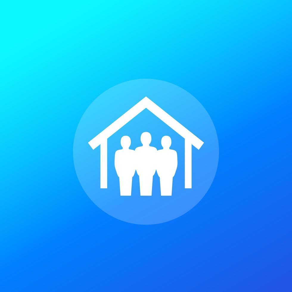 inquilinos e icono de la casa vector