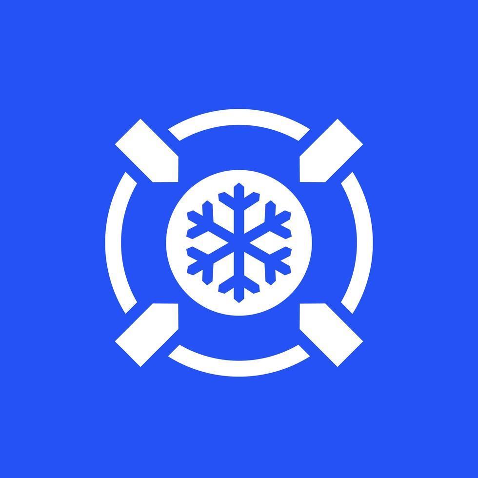 icono de enfriamiento, congelación en azul vector