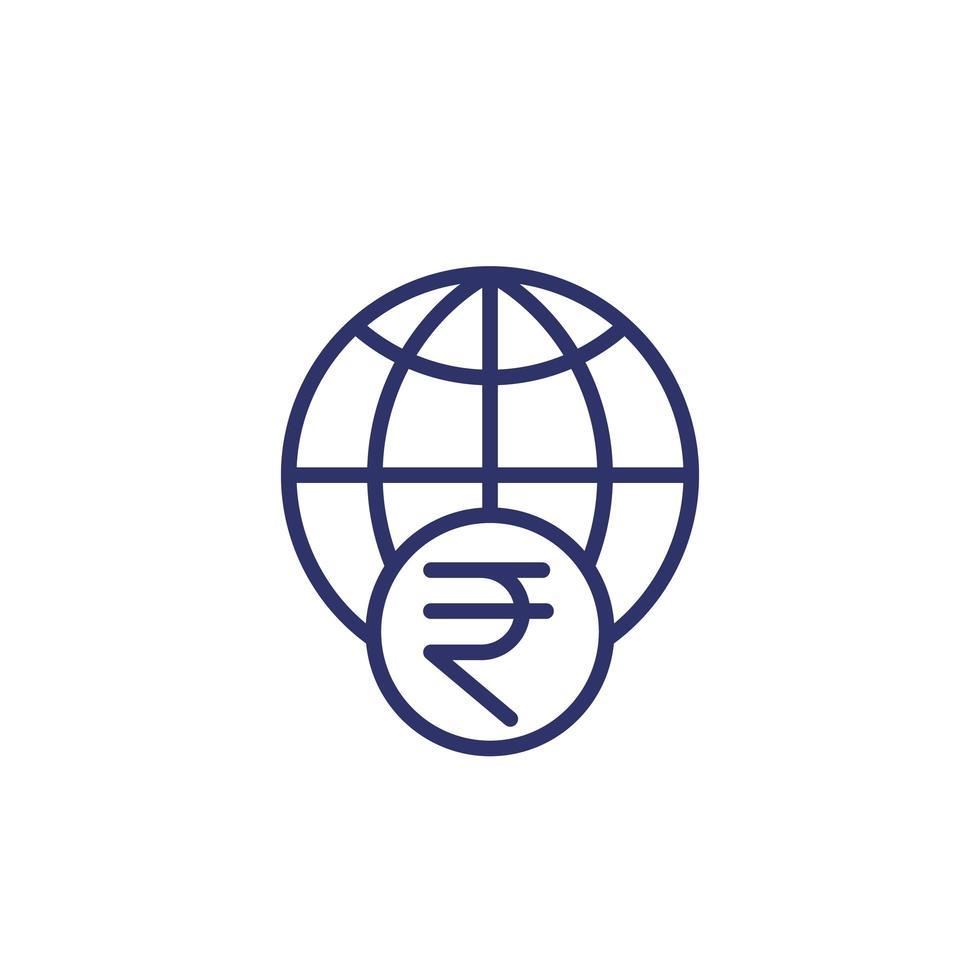 icono de línea de rupia india y globo vector