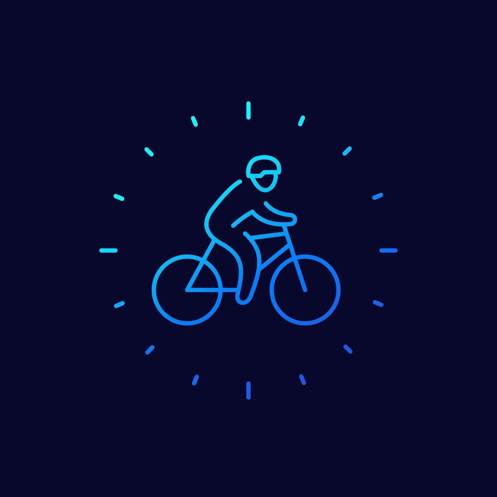 icono de ciclista, arte lineal vector