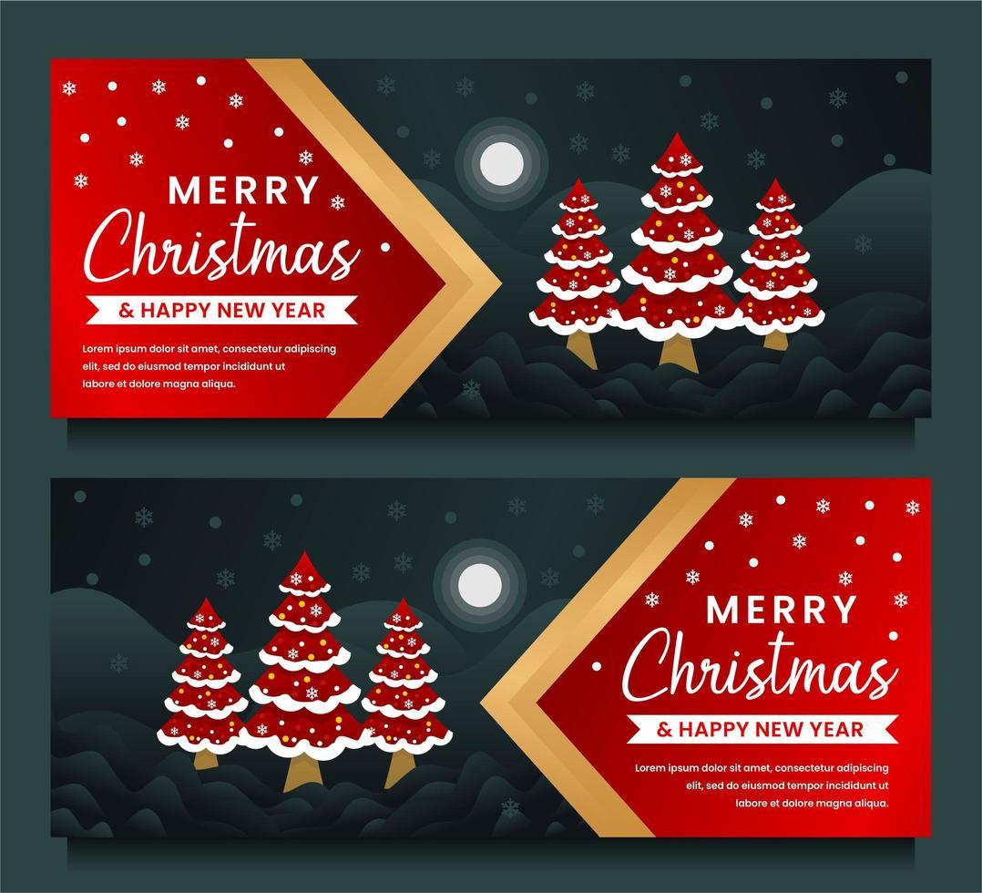 feliz navidad y próspero año nuevo plantilla de banner vector