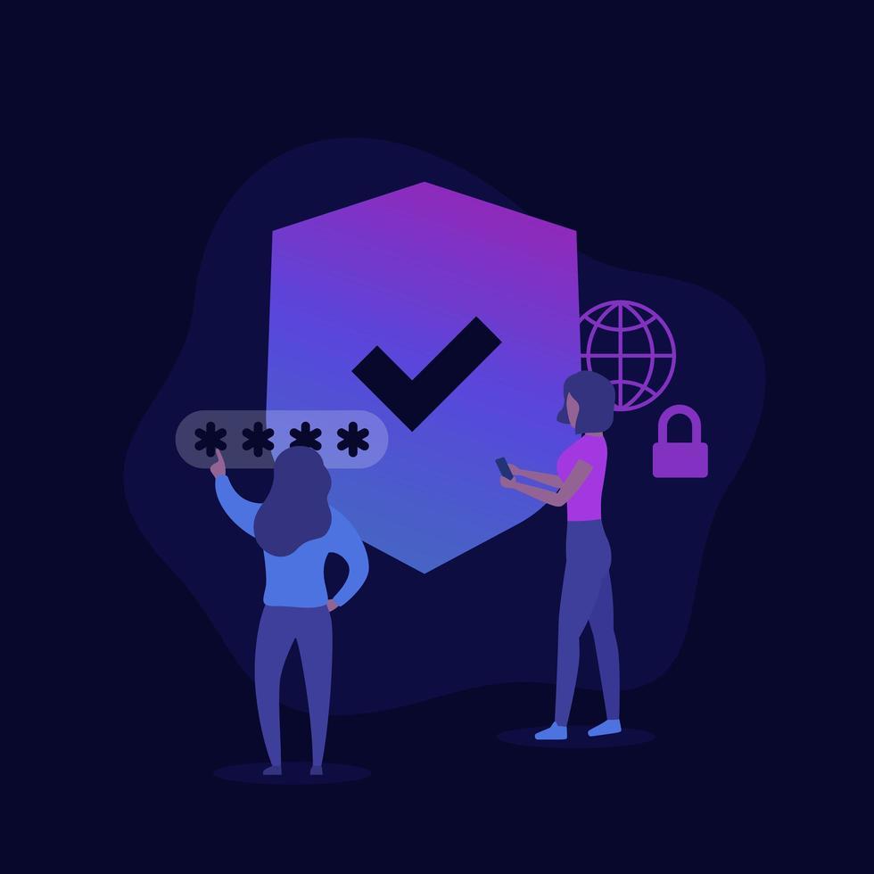 ilustración de seguridad en línea con mujeres vector