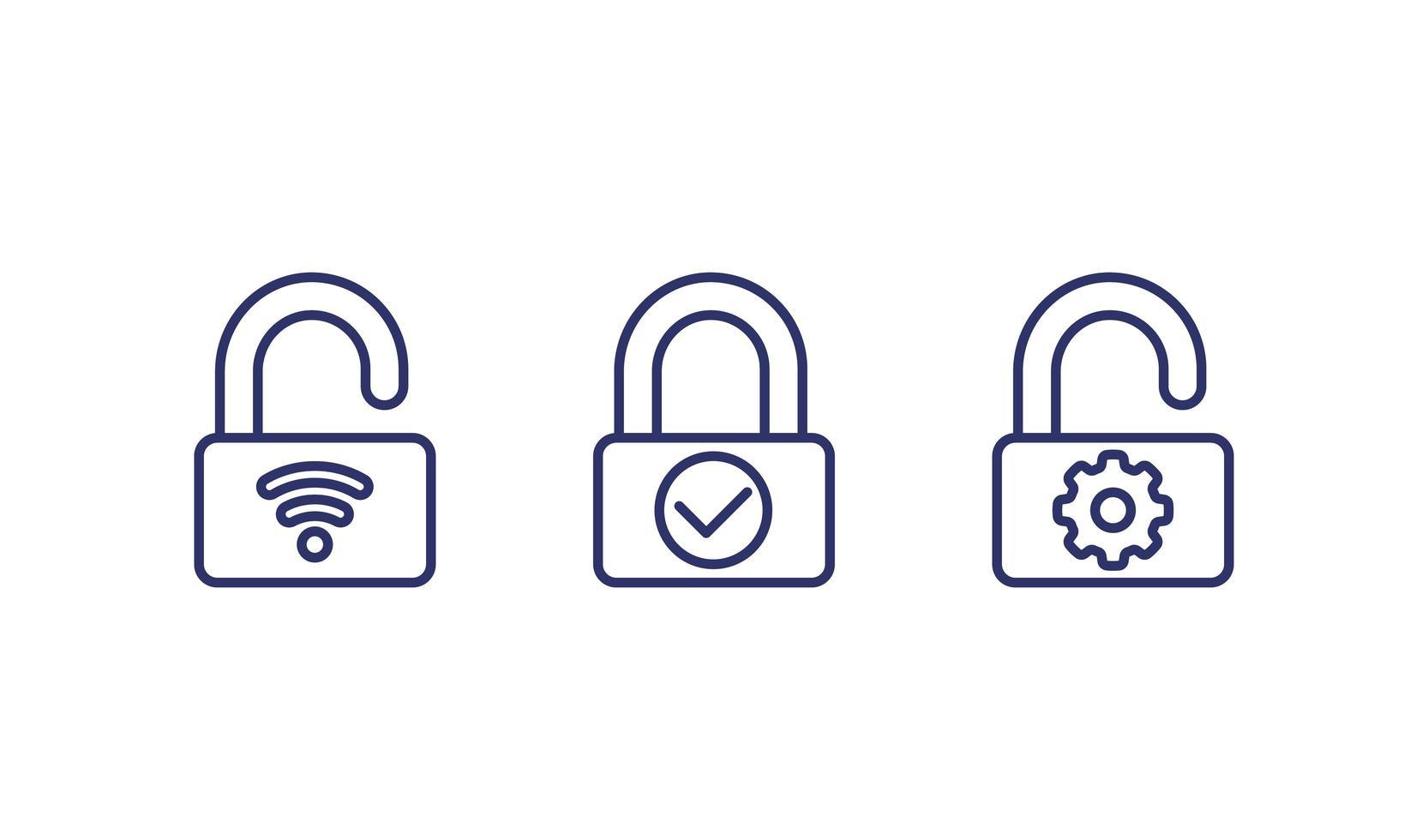 iconos de línea de cerradura de puerta inteligente vector