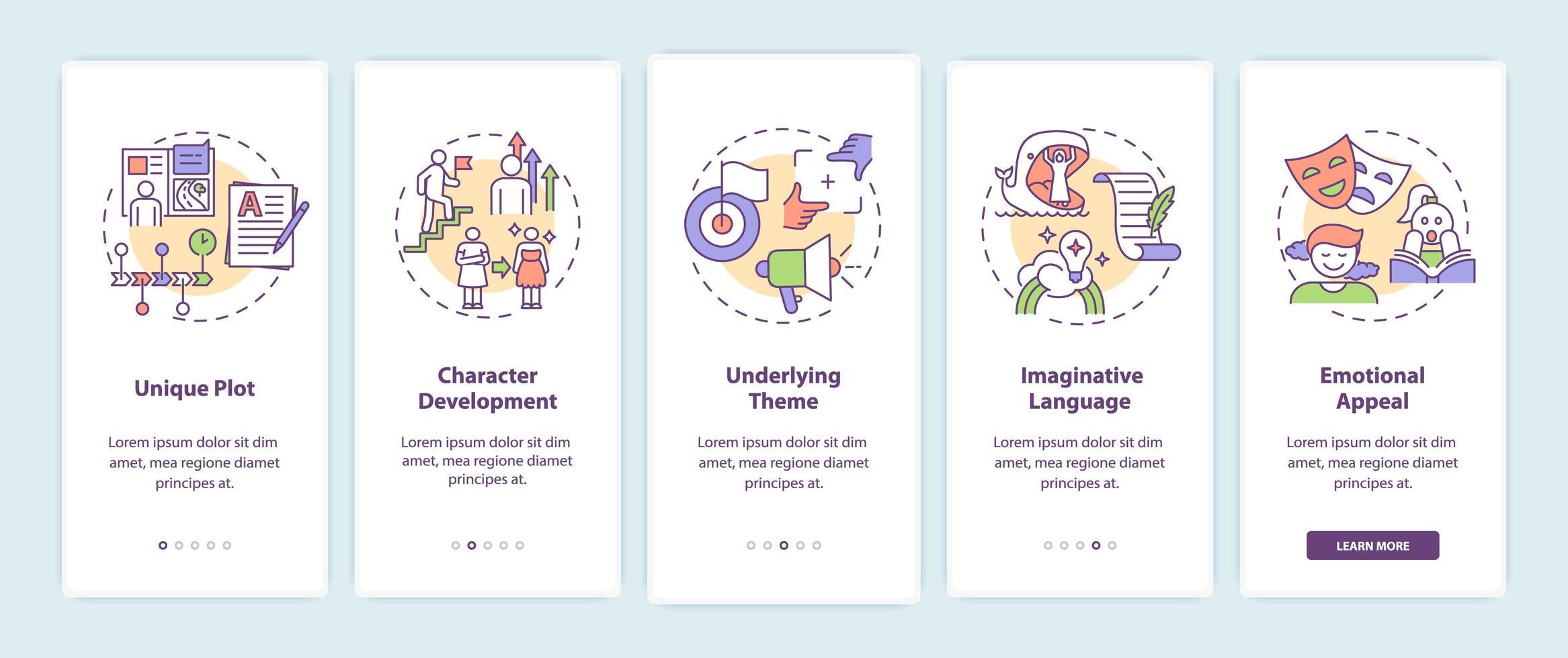 elementos de escritura creativa incorporando la pantalla de la página de la aplicación móvil vector