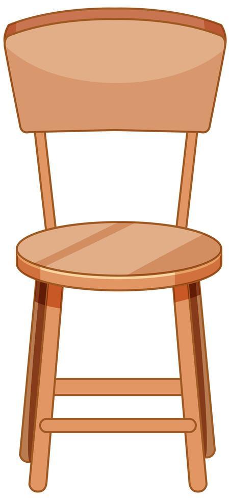 estilo de dibujos animados de silla de madera aislado sobre fondo blanco vector