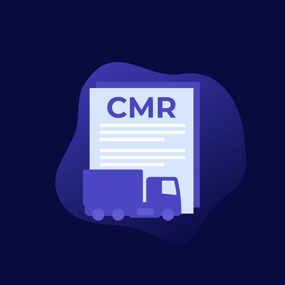 icono de documento de transporte cmr vector