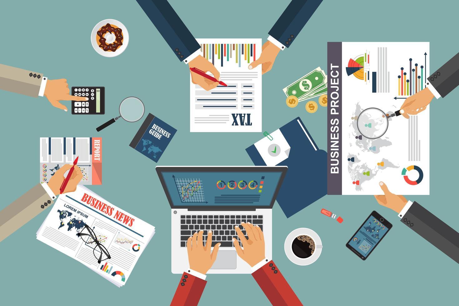 Fondo de concepto de auditoría con objetos de oficina vector