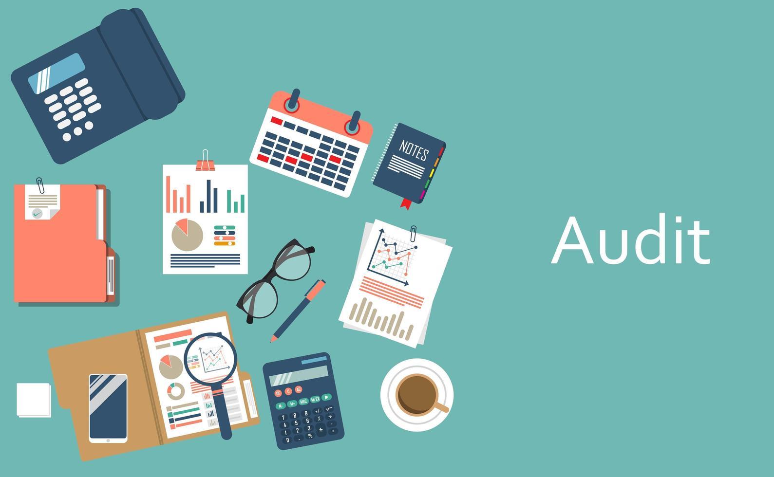 concepto de auditoría, fondo con objetos de oficina vector