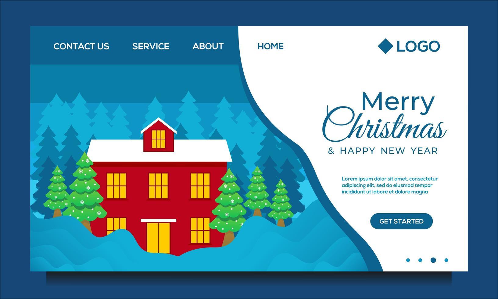 feliz navidad y próspero año nuevo página de inicio vector