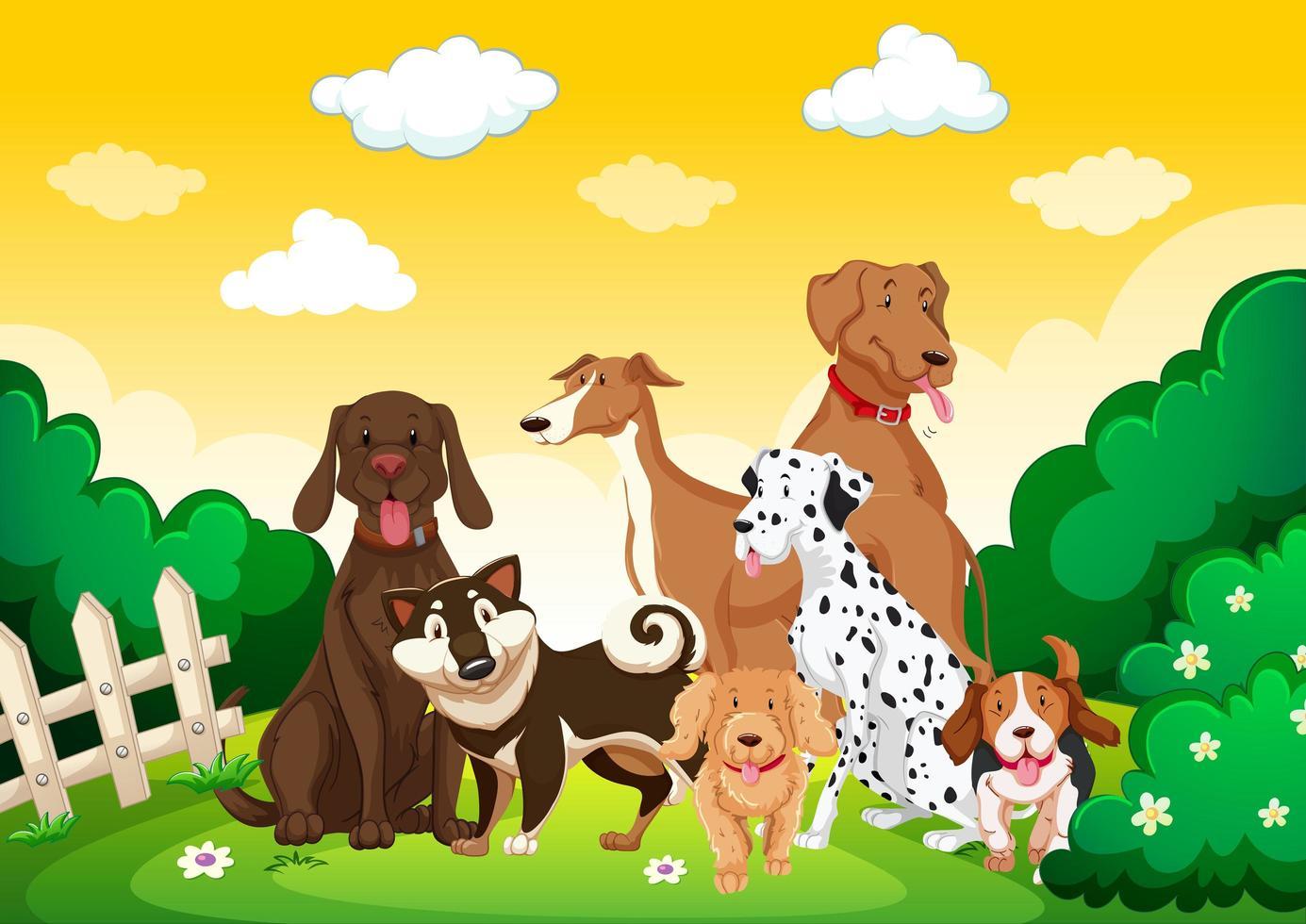 grupo de perros en la escena del jardín vector
