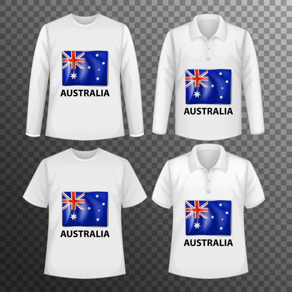 Conjunto de diferentes camisas masculinas con pantalla de bandera de Australia en camisas aisladas vector
