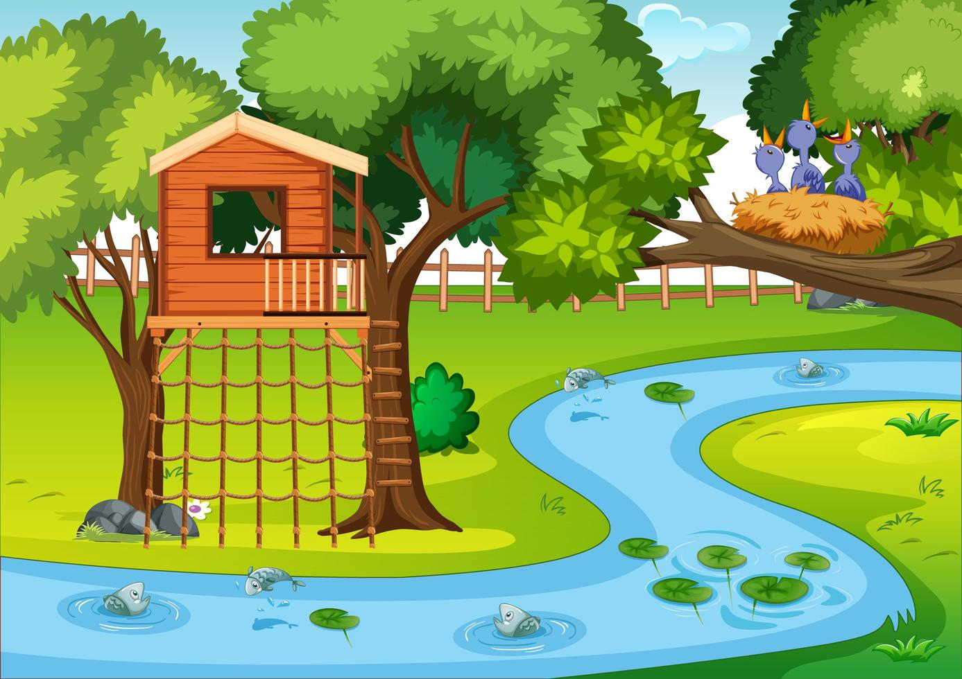 escena del parque natural en estilo de dibujos animados vector