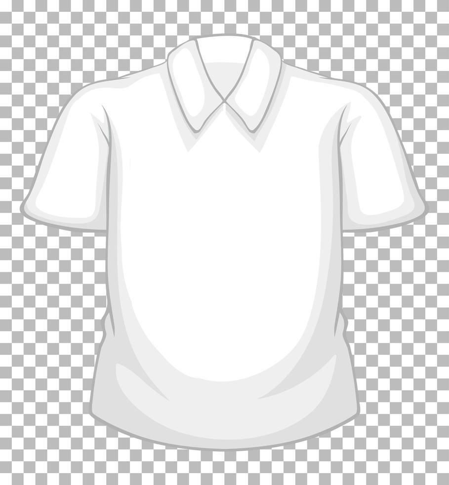 Camisa de manga corta blanca en blanco aislado sobre fondo transparente vector