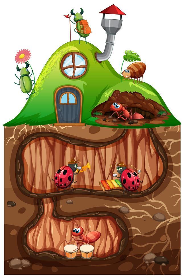escena con insectos en el agujero subterráneo. vector
