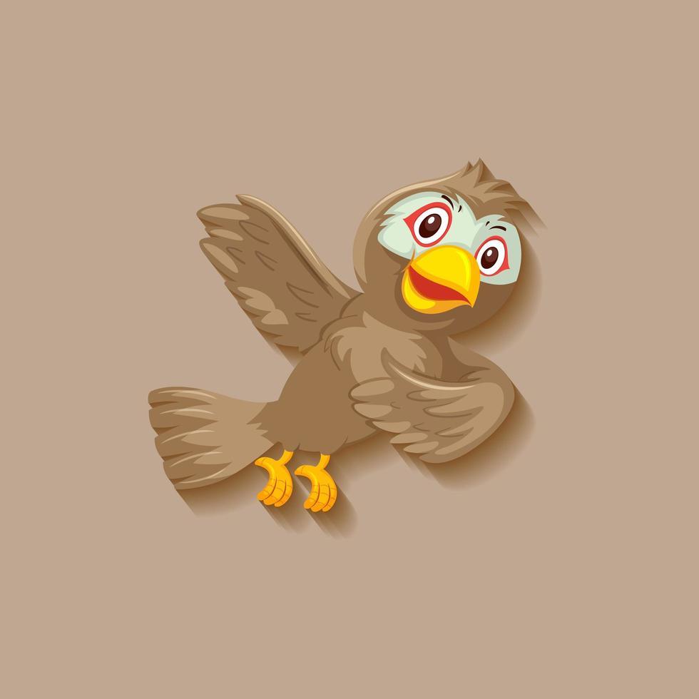 personaje de dibujos animados lindo pájaro gorrión vector