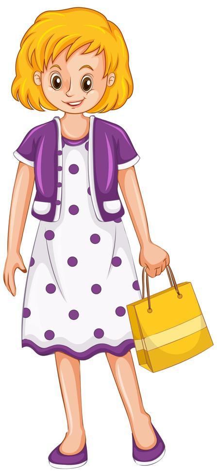 Mujer sosteniendo bolsa de compras sobre fondo blanco. vector