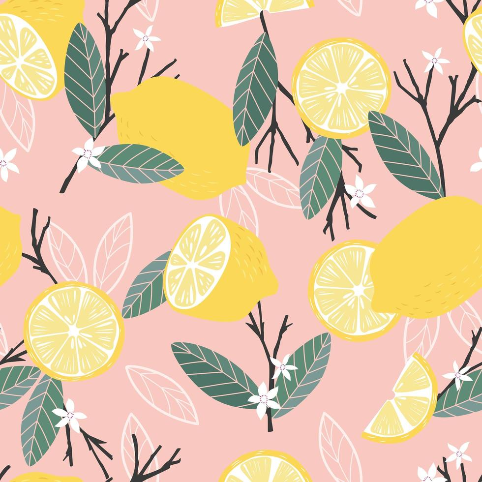 fruta de patrones sin fisuras, limones con ramas y hojas vector