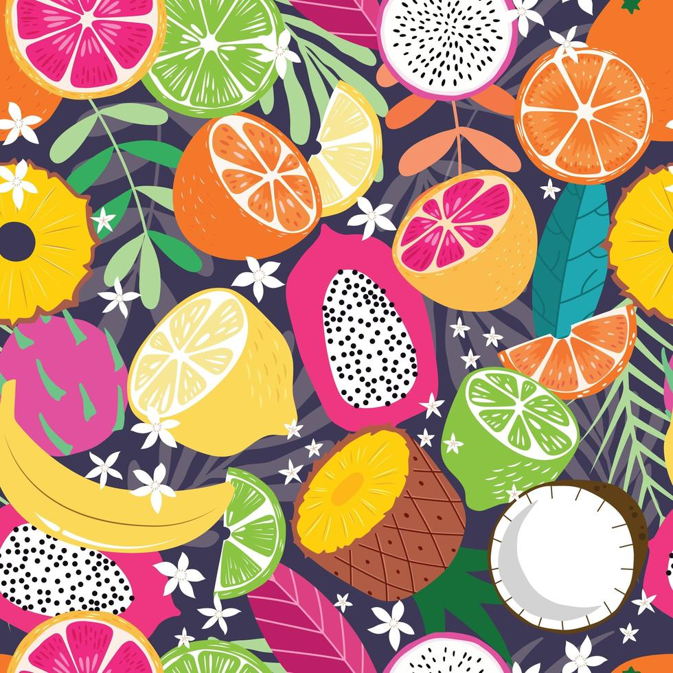 Fruit seamless pattern, collection of exotic tropical fruits vector